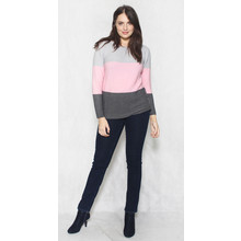 Twist Grey & Pink Trim Fine Rib Top