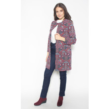 SophieB Red & Blue Geometric Pattern Open Jacket