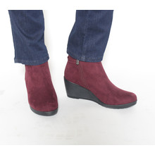 Marco Tozzi Bordeaux Suede Wedge Boot