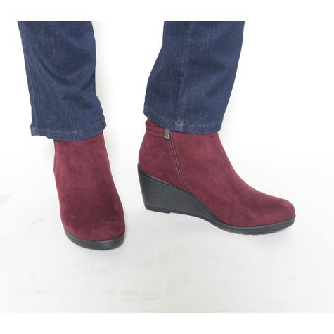 Marco Tozzi Bordeaux Suede Wedge Boot