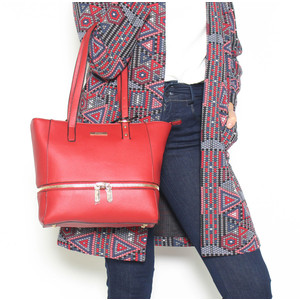 Hampton Red Shopper Zip Accessory Bag