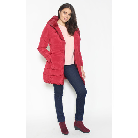 Laura Jo  Red Puffa Hooded Winter Coat