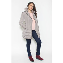 Laura Jo Light Grey Puffa Hooded Winter Coat
