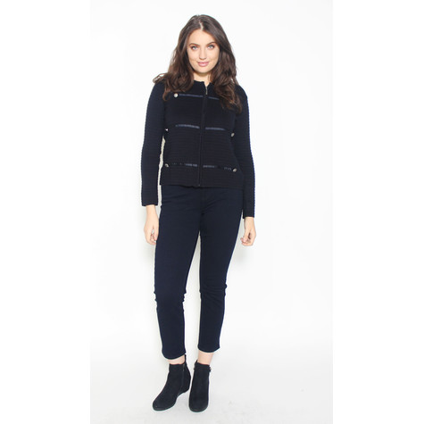 Twist Navy Zip Button Detail Knit