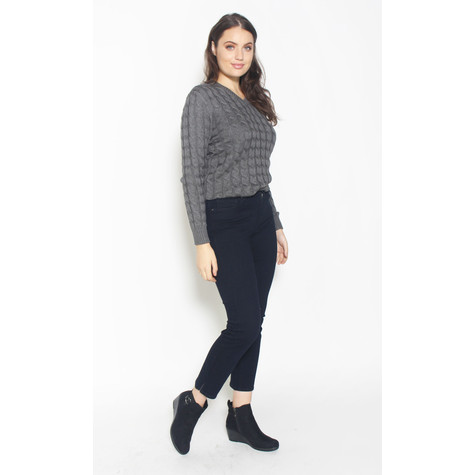 Twist Grey V-Neck Knit