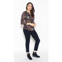 SophieB Black Floral Pattern Open Neck Top