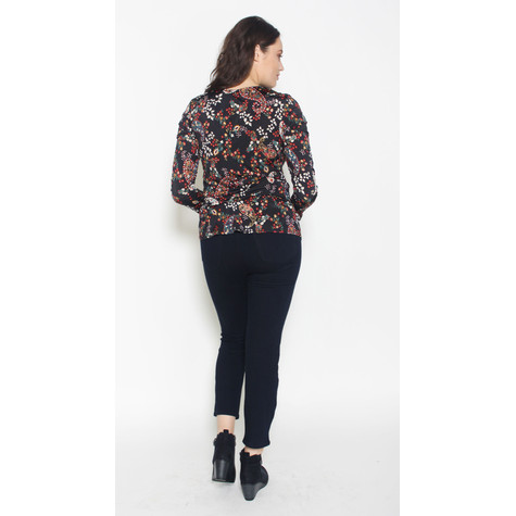 SophieB Black Floral Pattern Open Neck Top