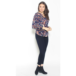 SophieB Navy Floral Print Open Neck Top