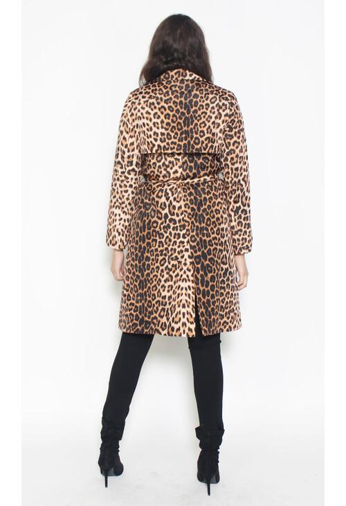Zapara Black Leopard Print Trench Coat