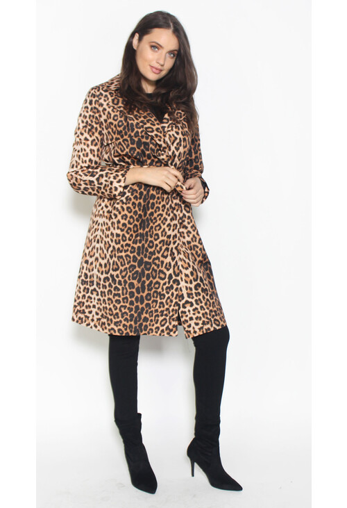 Zapara Black Leopard Print Trench Coat