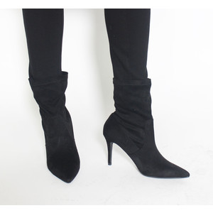 Monshoe Black Sock Heel Boot