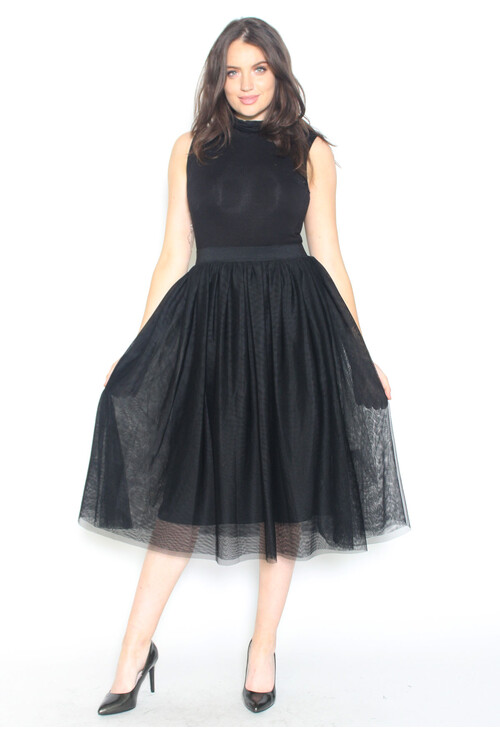 Sharagano Tulle Turtle Neck Dress
