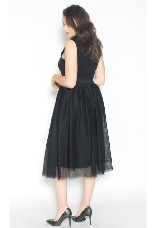 Sharagano Tulle Turtle Neck Dress
