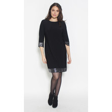 Ronni Nicole Black Cuff & Hem Glitter Dress