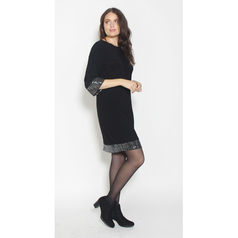 Ronni Nicole Black Cuff & Hem Glitter Dress