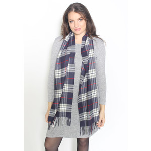 Passigatti Grey & Navy Check Long Scarf
