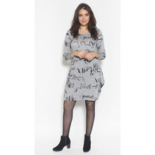 SophieB Grey & Black Text Print Dress