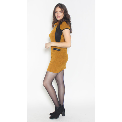SophieB Mustard Black Side Panel Dress
