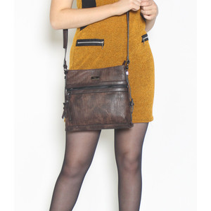 Gionni Brown Zip Detail Cross Body Bag