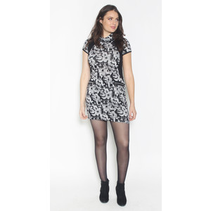 SophieB Black & Grey Cowl Neck Print Dress