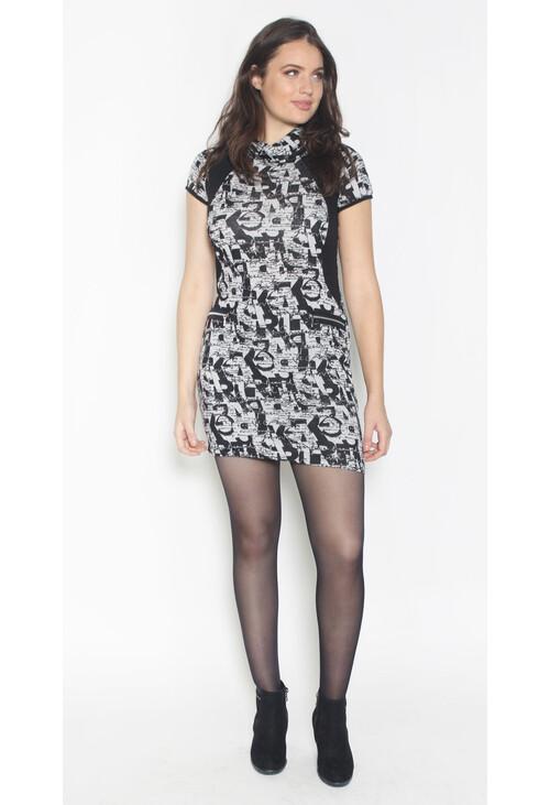 Sophie B Black & Grey Cowl Neck Print Dress