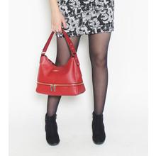 Hampton Double Zip Red Shopper Hand Bag