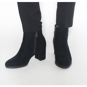 Marco Tozzi Black Jewel Detail Block Heel Boot