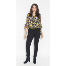 SophieB Mustard & White Polka Dot Black V-Neck Top