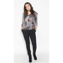 SophieB Pink & Black Abstract Pattern V-Neck Top