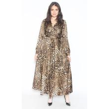 Lulu & Love Beige Leopard Print Long Belted Dress