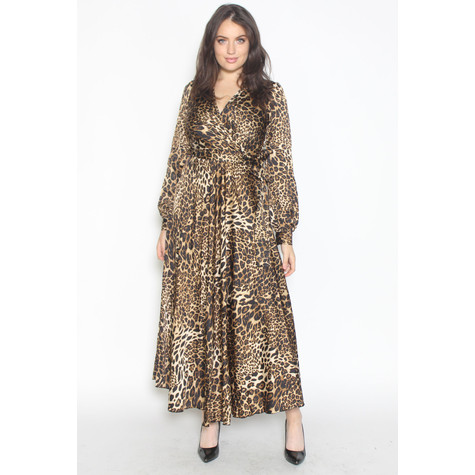 Pamela Scott Beige Leopard Print Long Belted Dress