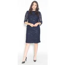 Ronni Nicole Navy Tiered Lace & Chiffon Dress