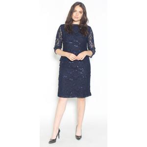Ronni Nicole Navy Tiered Lace & Chiffon Dress