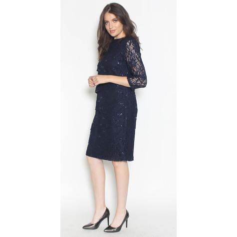 35b4ab40b4 Ronni Nicole Navy Tiered Lace   Chiffon Dress