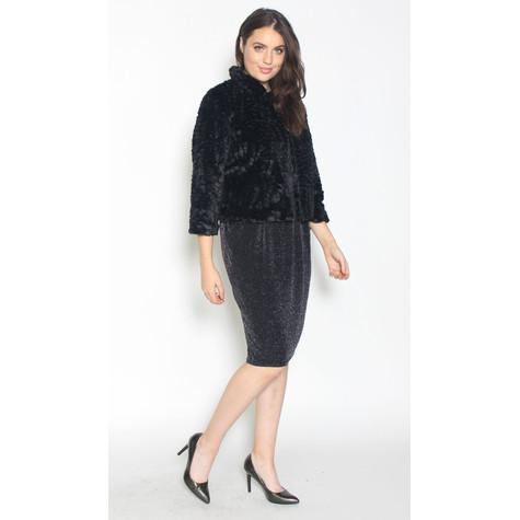 Zapara Crop Black Faux Fur Jacket