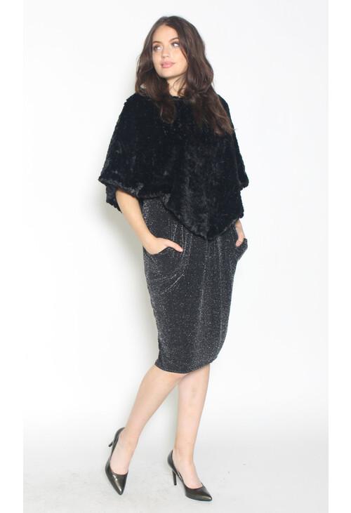 Zapara Black Faux Fur Bolero Knit