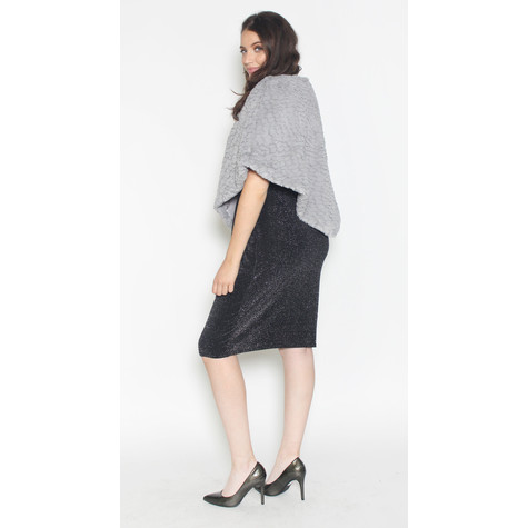 Zapara Grey Faux Fur Bolero Knit