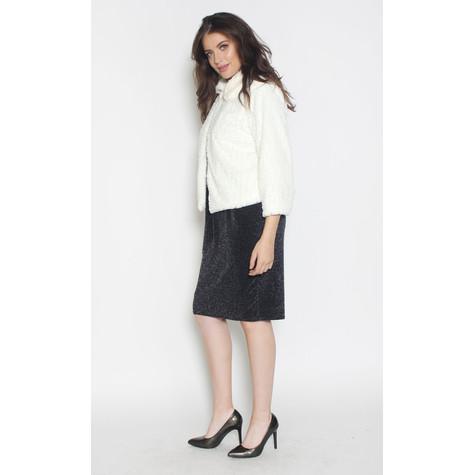 Zapara Crop White Faux Fur Jacket