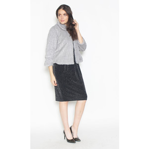 Zapara Crop Faux Fur Grey Jacket