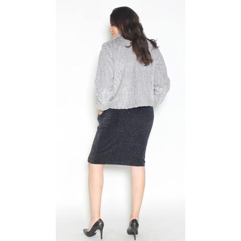 Zapara Crop Faux Fur Grey Jacket