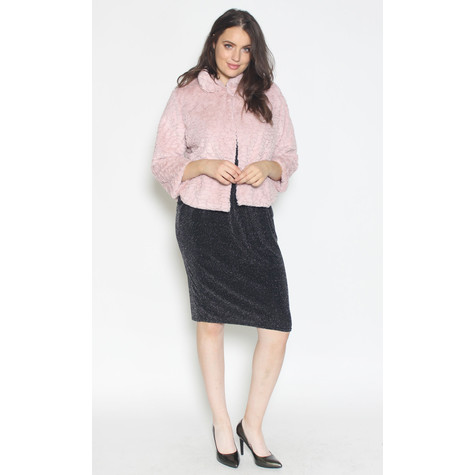 Zapara Crop Faux Fur Pink Jacket