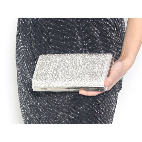 Pamela Scott Glitter Silver & Grey Clutch Bag