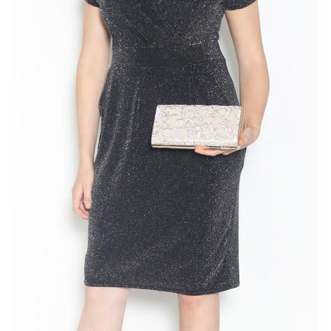 Pamela Scott Silver Floral Glitter Clutch Bag