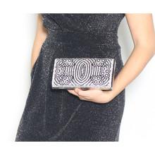 Styline Black & Silver Glitter Clutch Bag
