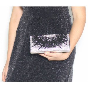 Pamela Scott Black & Silver Glitter Clutch Bag