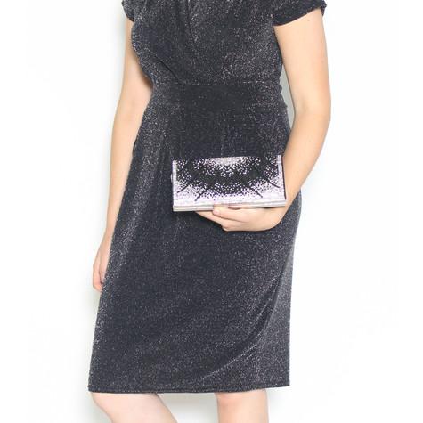 Pamela Scott Black & Silver Glitter Clutch Bag