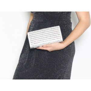 Pamela Scott Silver Strip Glitter Clutch Bag