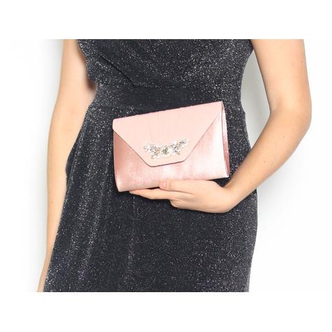 Barino Pink Blush Satin Jewel Detail Bag