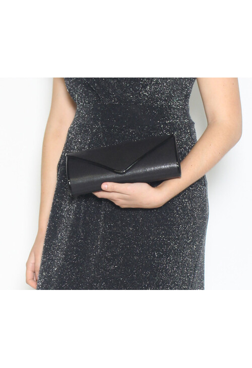 Barino Black Metallic Envelope Bag