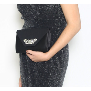 Barino Black Satin Jewel Detail Bag